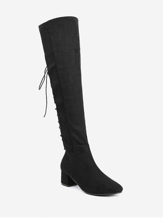women's Chunky Heel Lace Up Over The Knee Boots - BLACK 40