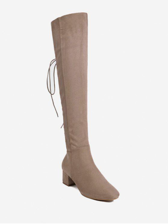 Chunky Heel Lace Up Over The Knee Boots - Abricot 36