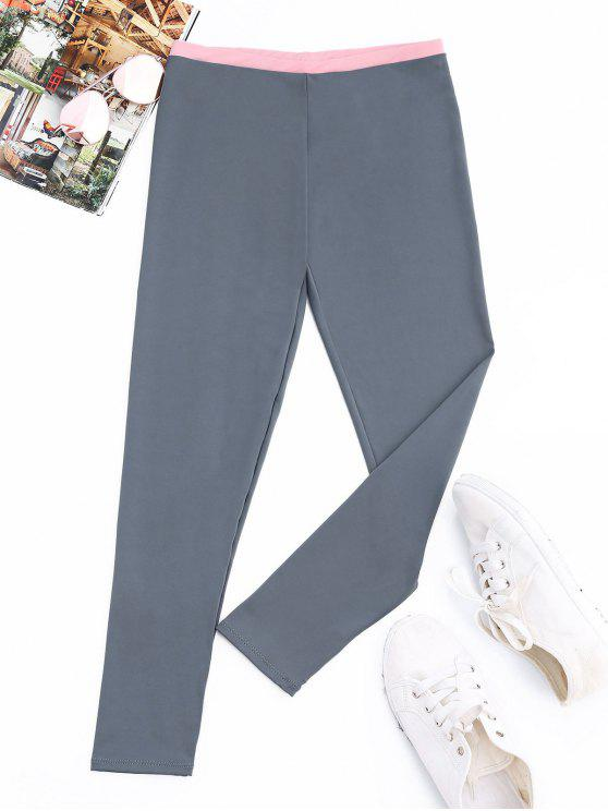 affordable Patchwork Athletic Leggings - BLUE GRAY M