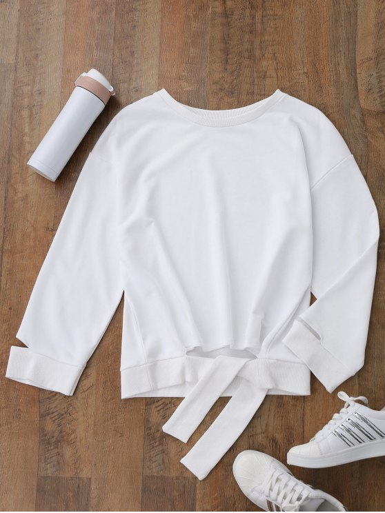 ladies Tied Cut Out Sports Sweatshirt - WHITE M