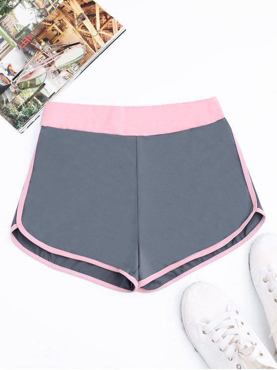 trendy Two Tone Dolphin Shorts - BLUE GRAY L