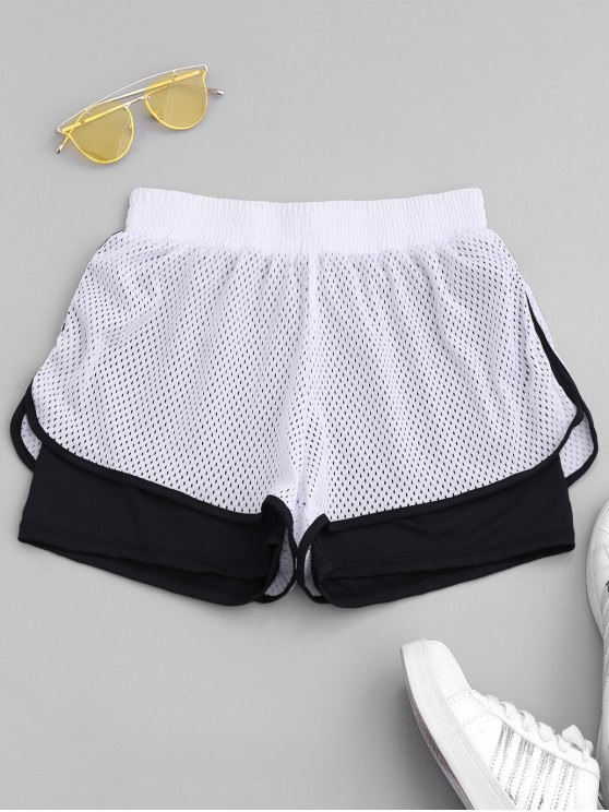 fancy Two Tone Laser Cut Shorts - WHITE L