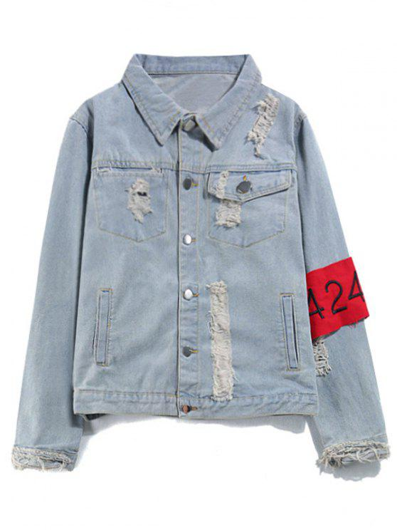 unique Armband Streetwear Ripped Denim Jacket - DENIM BLUE XL