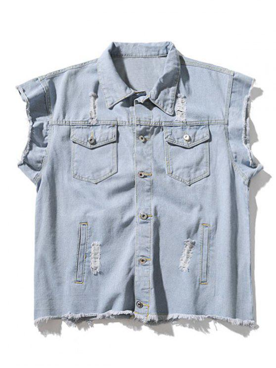 Ripped Gris Sin mangas Denim Jacket - Denim Blue M