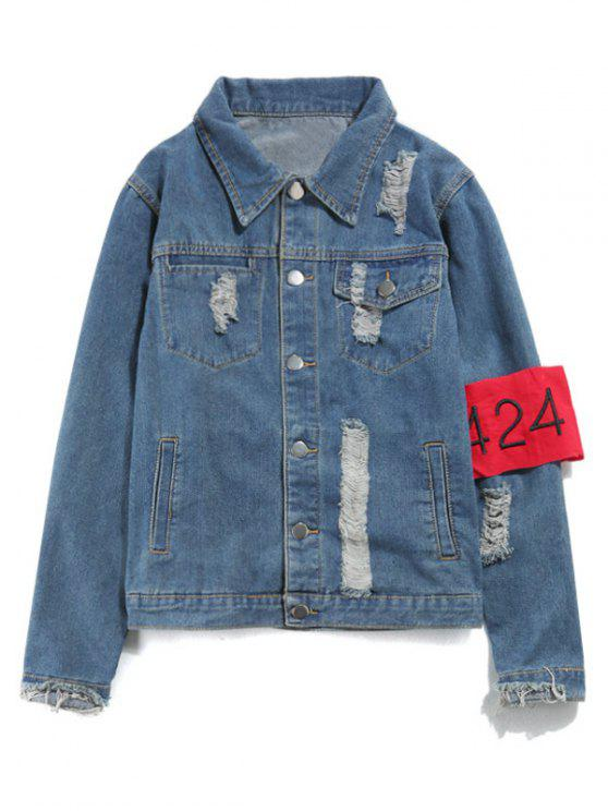 Streetwear Ripped Armband Denim Jacket - Azul 2XL