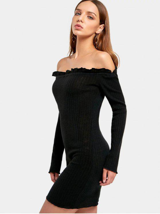 fancy Off The Shoulder Mini Fitted Dress - BLACK S
