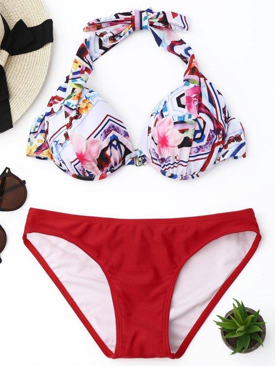 buy Halter Floral Underwire Bikini Set - RED S