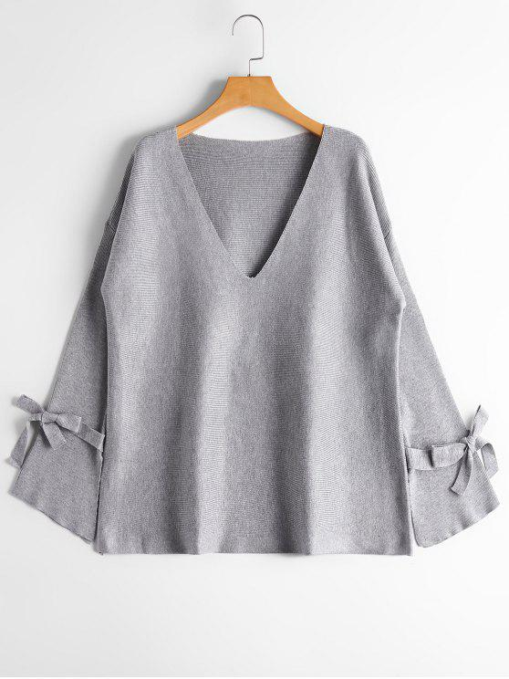 women's Bow Tied Sleeve V Neck Sweater - GRAY ONE SIZE