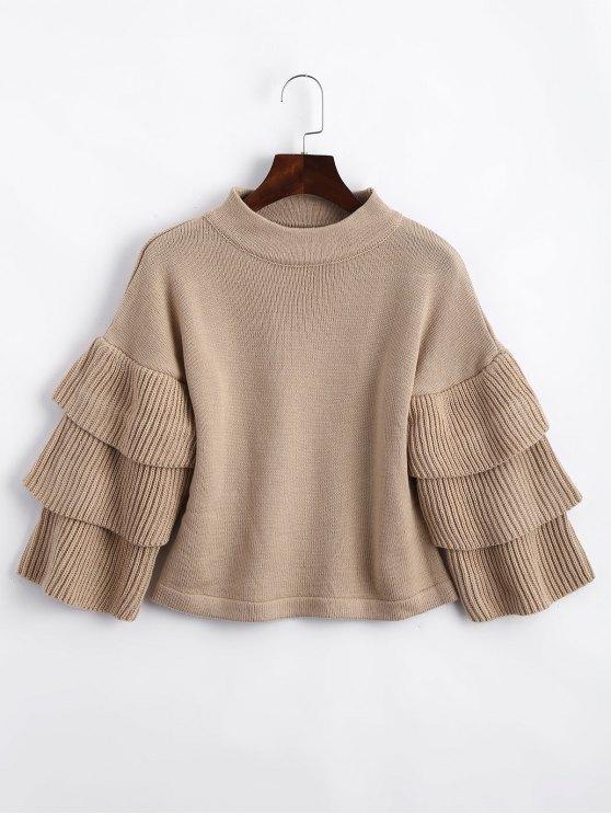 trendy Loose Layered Sleeve Mock Neck Sweater - KHAKI ONE SIZE