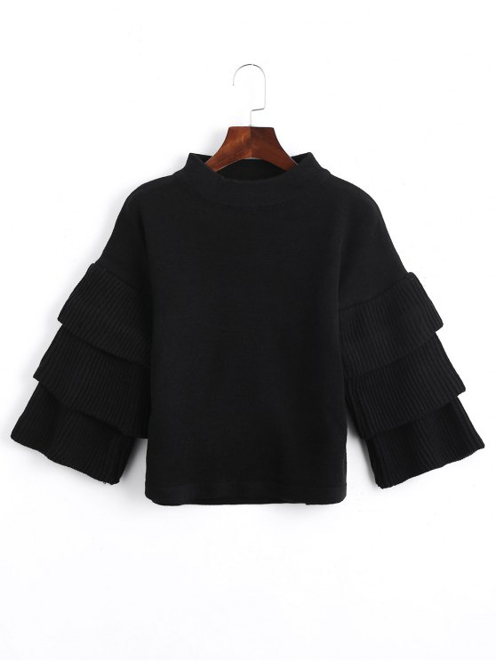 fancy Loose Layered Sleeve Mock Neck Sweater - BLACK ONE SIZE