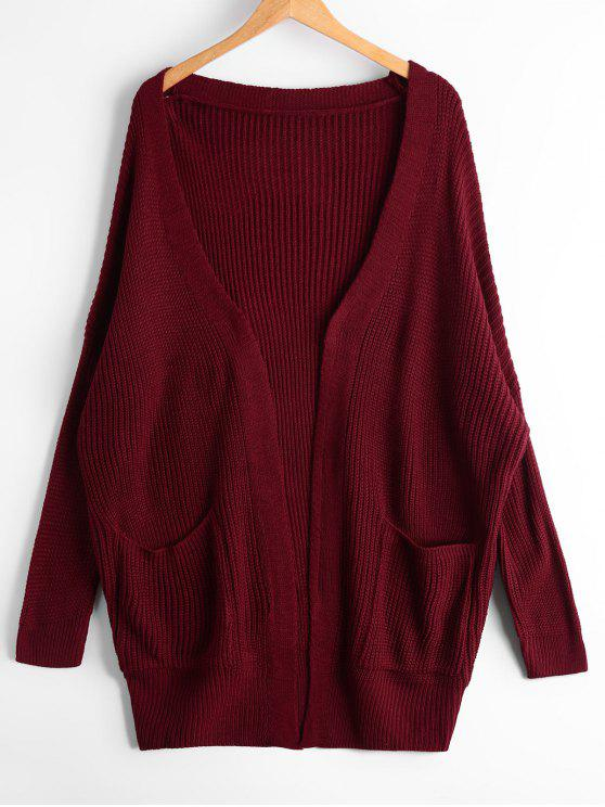 ladies Open Front Chunky Cardigan with Pockets - WINE RED ONE SIZE