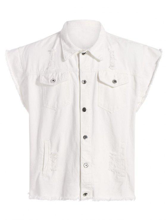 Gerippte Ärmellose Jeans Jacke mit Grafik - Weiß L