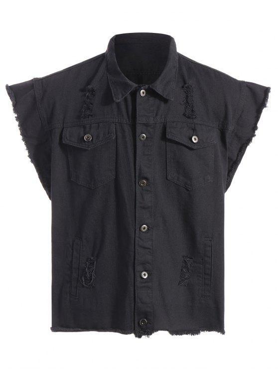 Gerippte Ärmellose Jeans Jacke mit Grafik - Schwarz L