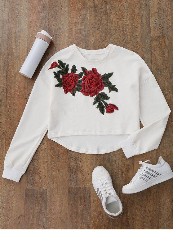 trendy High Low Floral Applique Sweatshirt - WHITE S