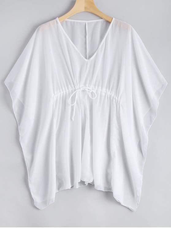 unique Sheer Kaftan Cover-up Top - WHITE ONE SIZE