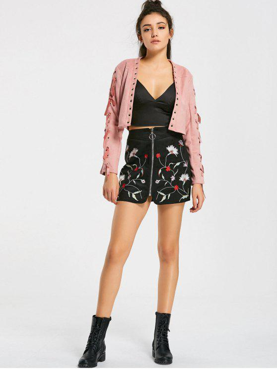 e616aa318 32% OFF] 2019 Floral Embroidered Faux Suede Mini Skirt In BLACK   ZAFUL