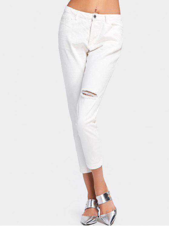 Jean blanc taille haute