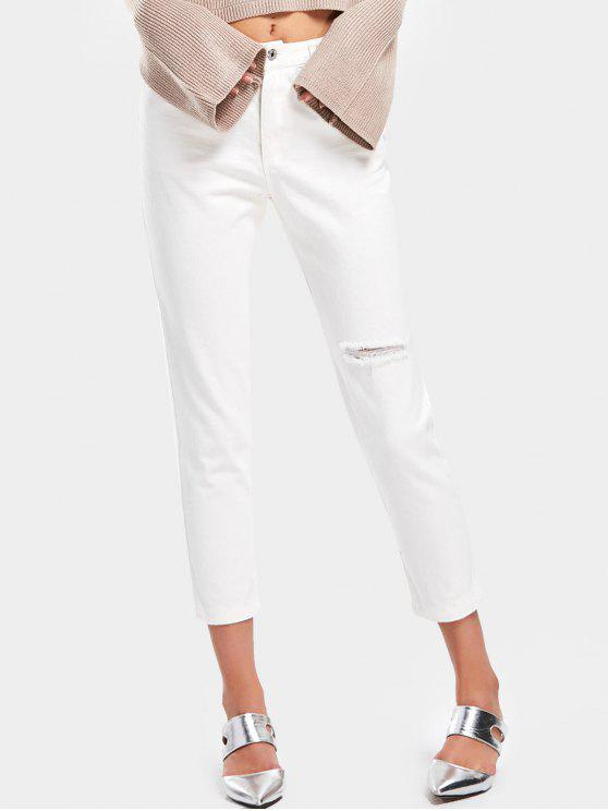 chic High Waisted Distressed Pencil Jeans - WHITE M