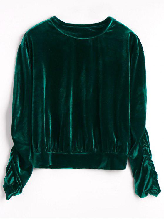 Camiseta de terciopelo de manga acanalada - Verde negruzco Única Talla