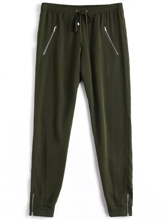 lady Casual Zipper Pocket Drawstring Pants - ARMY GREEN S