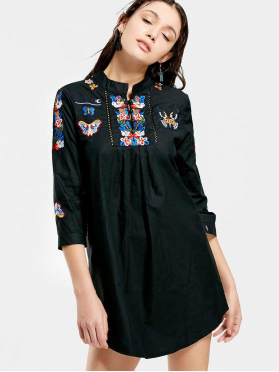 فستان مستقيم مرقع بالأزهار والفراشة - أسود XL