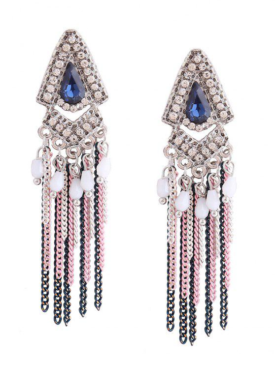 fancy Resin Rhinestone Teardrop Fringed Chain Earrings - BLUE