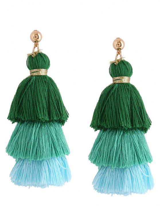 Pendientes de borla en capas - Verde