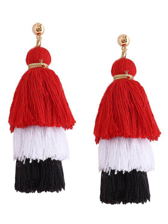 womens Layered Tassel Earrings - RED
