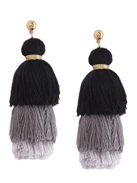 Pendientes de borla en capas - Negro