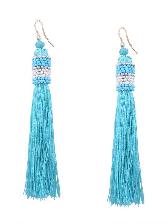 outfit Vintage Tassel Beaded Hook Earrings - LIGHT BLUE