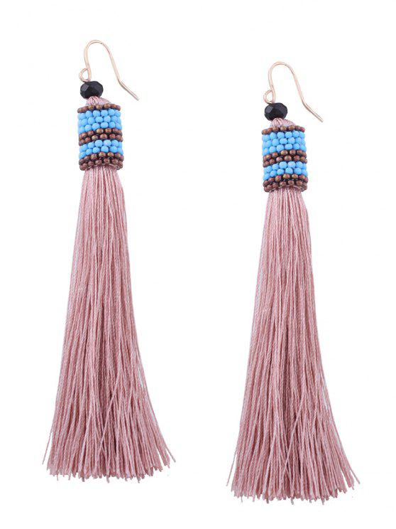 latest Vintage Tassel Beaded Hook Earrings - LIGHT PINK