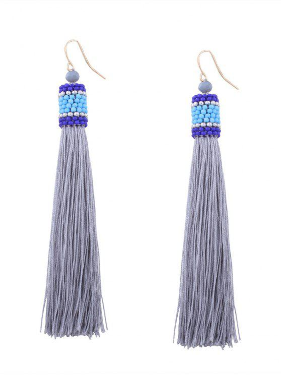 affordable Vintage Tassel Beaded Hook Earrings - GRAY