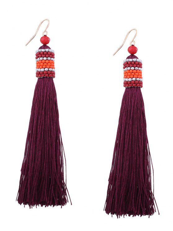 buy Vintage Tassel Beaded Hook Earrings - WINE RED