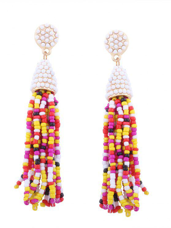 womens Statement Beaded Tassel Earrings - COLORMIX