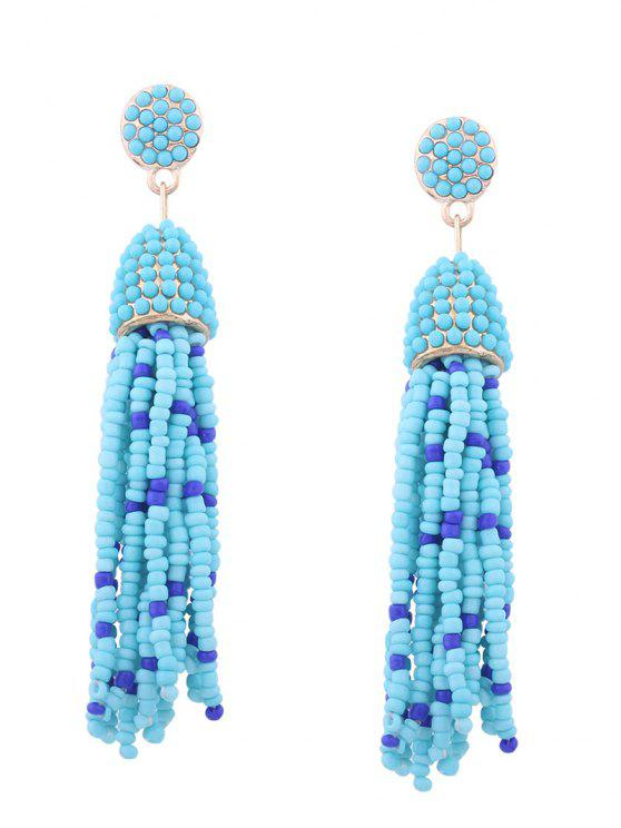 women Statement Beaded Tassel Earrings - BLUE