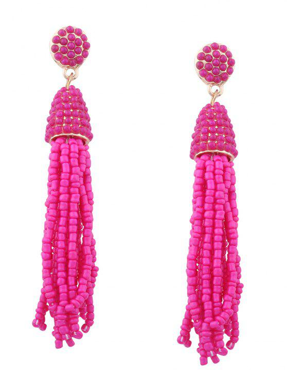 ladies Statement Beaded Tassel Earrings - ROSE RED
