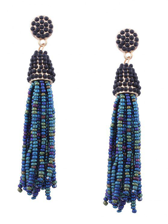 Statement Beaded Tassel Earrings - Verde