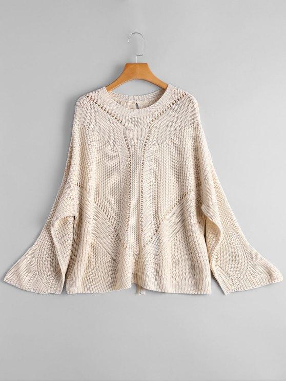 Pullover Back Lace Up Sweater - Damasco Claro Tamanho único