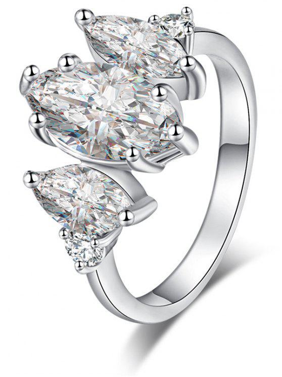 shop Horse Eye Zircon Metal Ring - SILVER 7
