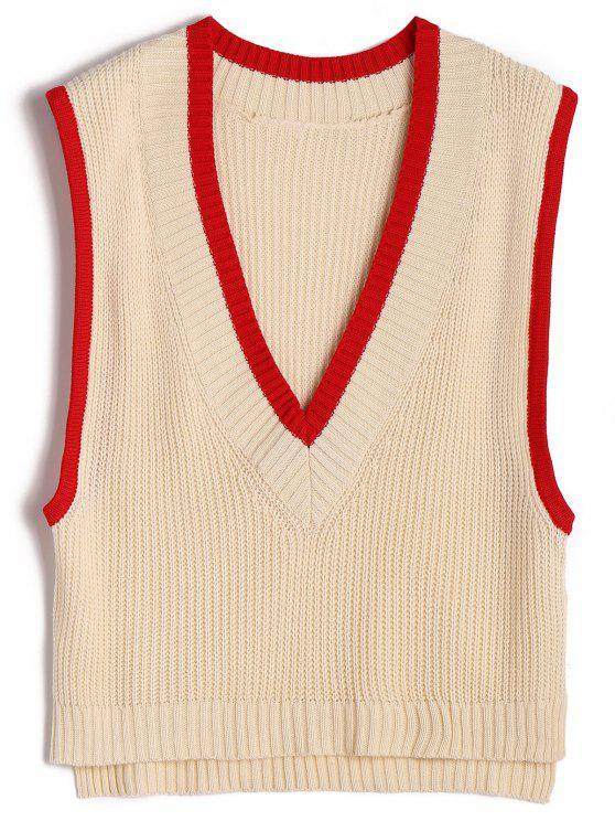 Chaleco de dos tonos que empuja el suéter del cuello - Albaricoque Única Talla