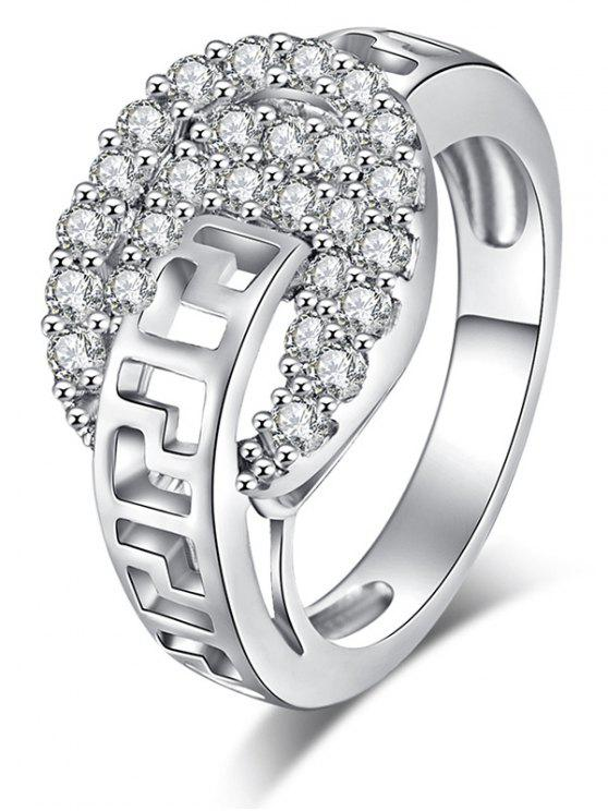 Zircon Hollow Out Carve Metal Ring - Prata 7