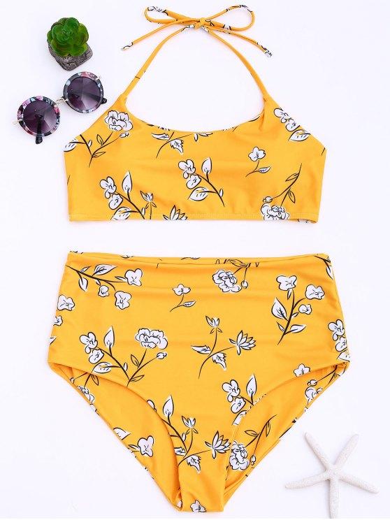 بدلة بيكيني الحجم الكبير طباعة الأزهار عالية الخصر - الأصفر XL