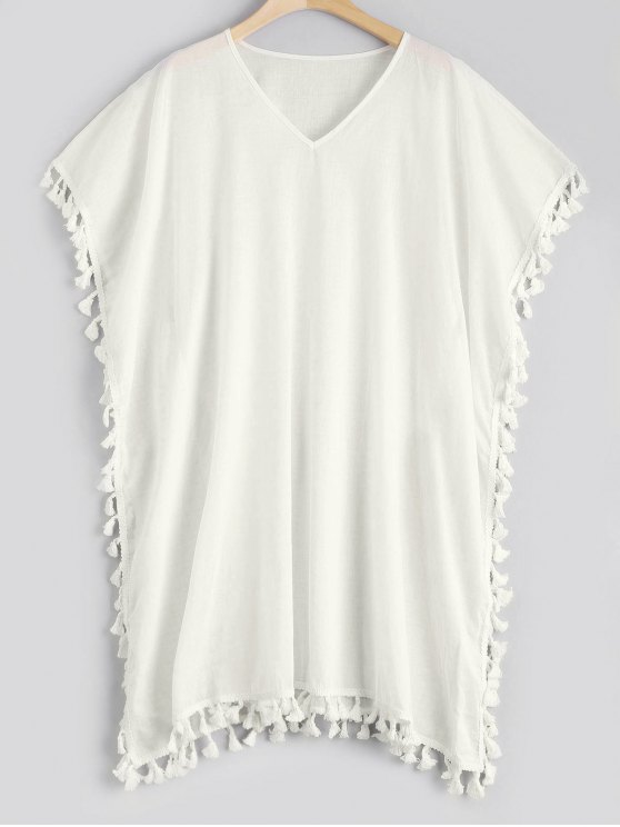 Vestido de caucho de caftán de borla - Blanco Única Talla