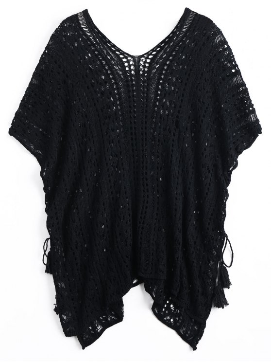 unique Lace-up Crochet Cover-up Dress - BLACK ONE SIZE