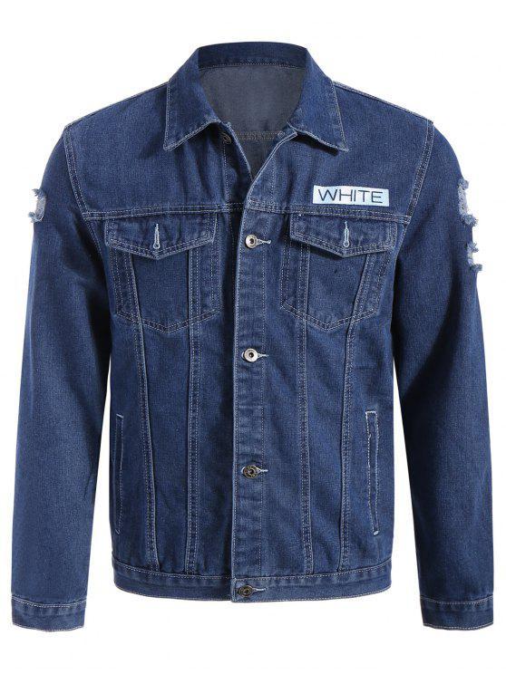 hot Graphic Ripped Denim Jacket - BLUE XL