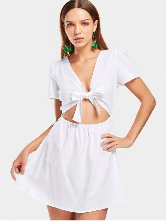 فستان مصغر ذو فتحات ربطة فراشية - أبيض M