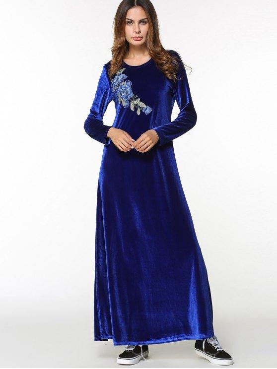 0768cc8ec160 Vestito Lungo In Velluto Con Ricamo Floreale E Maniche Lunghe - blu scuro XL