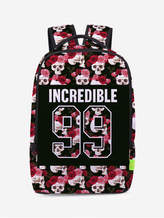 unique Skull Flower Canvas Backpack - BLACK