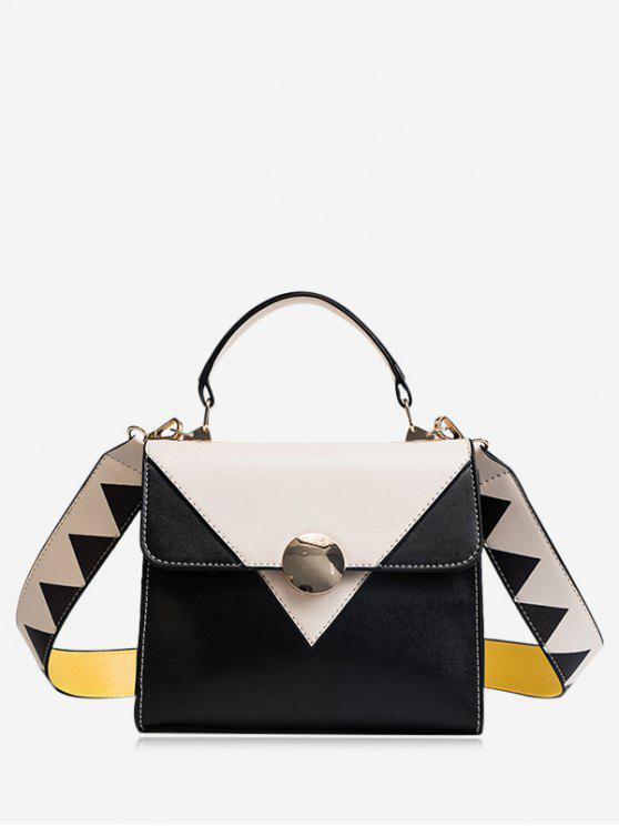 sale Color Blocking Geometric Faux Leather Crossbody Bag - WHITE