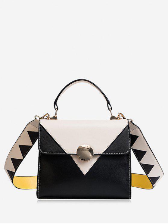 Color que bloquea el bolso geométrico de Crossbody del cuero del Faux - Blanco